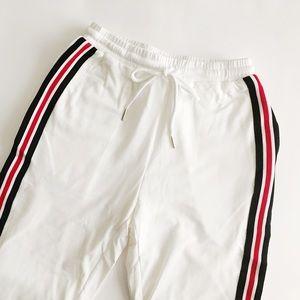Pants - White & Black & Red Side Striped Sweatpants